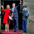 La reine Maxima et le roi Willem-Alexander des Pays-Bas au palais royal à Amsterdam, le 13 janvier 2015, pour la réception des voeux du nouvel an aux représentants de la société néerlandaise.