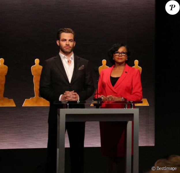 Cheryl Boone Isaacs, Chris Pine - Annonce des nominés à la 87e cérémonie des Oscars à Beverly Hills, le 15 janvier 2015.
