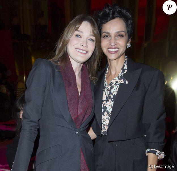 Carla Bruni-Sarkozy et Farida Khelfa - People au défilé de mode Schiaparelli collection Haute Couture printemps-été 2015/2016 à Paris le 26 janvier 2015.