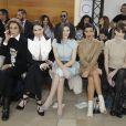 Nati et Adriana Abascal, Razane Jammal, Sonia Rolland, Frédérique Bel et Dièse assistent au défilé Stéphane Rolland haute couture printemps-été 2015 à La Maison de la Radio. Paris, le 27 janvier 2015.