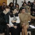 Frédérique Bel, Vanessa Guide et Sonia Rolland assistent au défilé Stéphane Rolland haute couture printemps-été 2015 à La Maison de la Radio. Paris, le 27 janvier 2015.