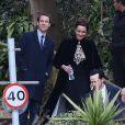 Tobias Menzies et Andrew Scott - Arrivée des invités au mariage de Benedict Cumberbatch et Sophie Hunter en l'église St. Peter and St. Paul à Mottistone sur l'île de Wight, le 14 février 2015.