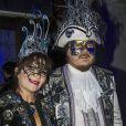 """Exclusif - Le chanteur Zucchero et sa jolie compagne Francesca Mozer - Ballet du Doge """"Cupidon au pays des merveilles"""" à l'occasion du Carnaval de Venise le 14 février 2015."""