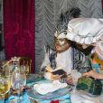 """Exclusif - Le chanteur Zucchero et sa compagne Francesca Mozer - Ballet du Doge """"Cupidon au pays des merveilles"""" à l'occasion du Carnaval de Venise le 14 février 2015."""