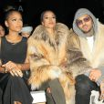 Christina Milian, Karrueche Tran et Chris Brown assistent au défilé Michael Costello automne-hiver 2015 au Salon du Lincoln Center. New York, le 17 février 2015.