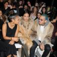 Christina Milian, Karreuche Tran et Chris Brown assistent au défilé Michael Costello automne-hiver au Salon du Lincoln Center.New York, le 17 février 2015.