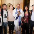 Abel Jafri, Julie Gayet, Abderrahmane Sissako, Toulou Kiki - Cérémonie au cours de laquelle le réalisateur mauritanien Abderrahmane Sissako reçoit la médaille Grand Vermeil de la Ville de Paris à l'hôtel de ville, le 3 juillet 2014.