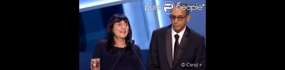 Sylvie Pialat et le réalisateur Abderrahmane Sissako pour le César 2015 du meilleur film pour Timbuktu.