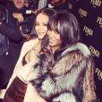 Rihanna et Naomi Campbell lors de la soirée d'inauguration de la nouvelle boutique Fendi, sur Madison Avenue. New York, le 13 février 2015.