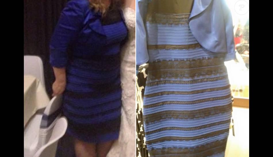 Robe noire bleue ou blanche doree