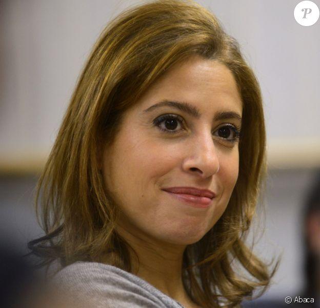 Léa Salame à l'université Saint Jospeh, à Beyrouth au Liban, le 2 mars 2015. La journaliste est allée à la rencontre d'étudiants et a pris la parole.
