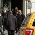 Les fils de Natasha Richardson et Liam Neeson's sons Micheal, 13, et Daniel, 12, quittant l'hommage à leur mère à New York le 20 mars 2009