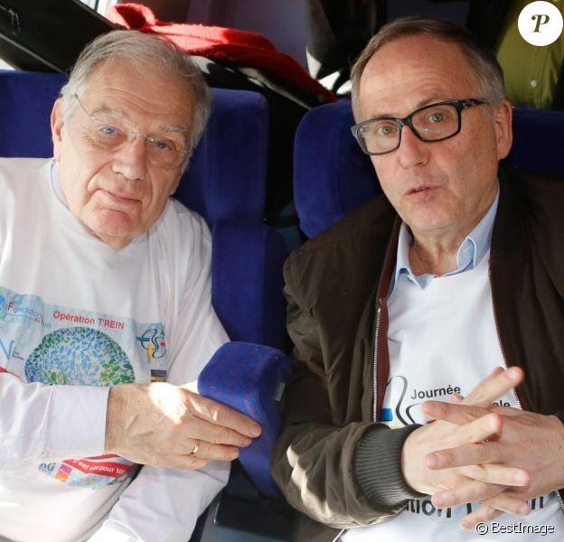 Exclusif - Michel Chevalet, Fabrice Luchini - Opération T'rein dans le cadre de la journée mondiale du rein à bord du TGV Paris-Marseille le 12 mars 2015.