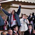 Le Prince Albert II de Monaco heureux de la qualification de l'ASM pour les quarts de finale de la Ligue des Champions, le 17 mars 2015 au Stade Louis-II, aux dépens d'Arsenal.
