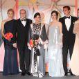 La princesse Charlene de Monaco, le prince Albert II de Monaco, la princesse Caroline de Hanovre, Charlotte Casiraghi, Beatrice Borromeo et Pierre Casiraghi, Karl Lagerfeld arrivant au Bal de la Rose 2014, sur le thème du constructivisme russe, au Sporting de Monte-Carlo le 29 mars 2014.