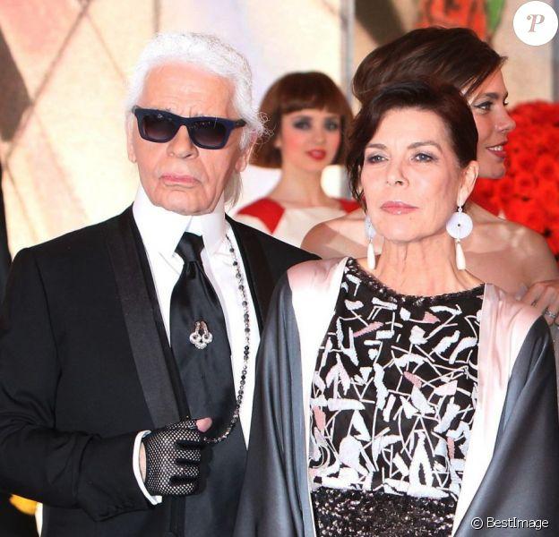 Karl Lagerfeld, la princesse Caroline de Hanovre, la princesse Charlene de Monaco, le prince Albert II de Monaco arrivant au Bal de la Rose 2014, sur le thème du constructivisme russe, au Sporting de Monte-Carlo le 29 mars 2014.