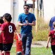 Patrick Dempsey est allé voir son fils Luke jouer au football à Los Angeles, le 22 mars 2015
