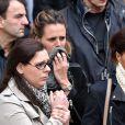 Coralie Balmy et Laure Manaudou lors des obsèques de Camille Muffat en l'église Saint Jean-Baptiste-Le Voeu à Nice, le 25 mars 2015