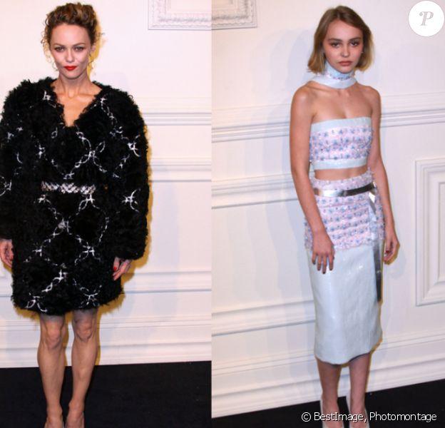 Vanessa Paradis et Lily-Rose Depp ont assisté au défilé Chanel à New York le 31 mars 2015