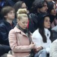 Helena Seger, épouse de Zlatan Ibrahimovic, assistent à la finale de la Coupe de la Ligue entre le PSG et le SC Bastia au Stade de France, à Saint-Denis, le 11 avril 2015.
