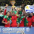 Le PSG remporte la finale de la Coupe de la Ligue face à Bastia au Stade de France à Saint-Denis le 11 avril 2015.