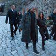 Kim Kardashian, Kanye West et leur fille North au monastère de Gherart. Erevan, le 9 avril 2015.
