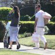 Exclusif - David Arquette et Christina McLarty se promènent avec leur fils Charlie à Los Angeles, le 7 mars 2015