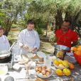 """Exclusif - Saïda Jawad, Pascal Legitimus - Le célèbre chef tropézien Christophe Leroy a organisé à Marrakech un week-end de fête pour la pose de la première pierre de son école de cuisine franco-marocaine dans son hôtel restaurant le """"Jardin d'Ines"""" à Marrakech au Maroc le 11 avril 2015."""