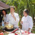 """Exclusif - Saïda Jawad, Laurence Roustandjee - Le célèbre chef tropézien Christophe Leroy a organisé à Marrakech un week-end de fête pour la pose de la première pierre de son école de cuisine franco-marocaine dans son hôtel restaurant le """"Jardin d'Ines"""" à Marrakech au Maroc le 11 avril 2015."""