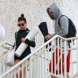 Exclusif - Lea Michele et son petit-ami Matthew Paetz à la sortie de leur cours de yoga à Los Angeles, le 5 mars 2015.
