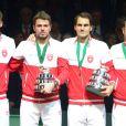 Roger Federer et Stanislas Wawrinka après leur triomphe en Coupe Davis, le 23 novembre 2014 au stade Pierre Mauroy de Villeneuve d'Ascq