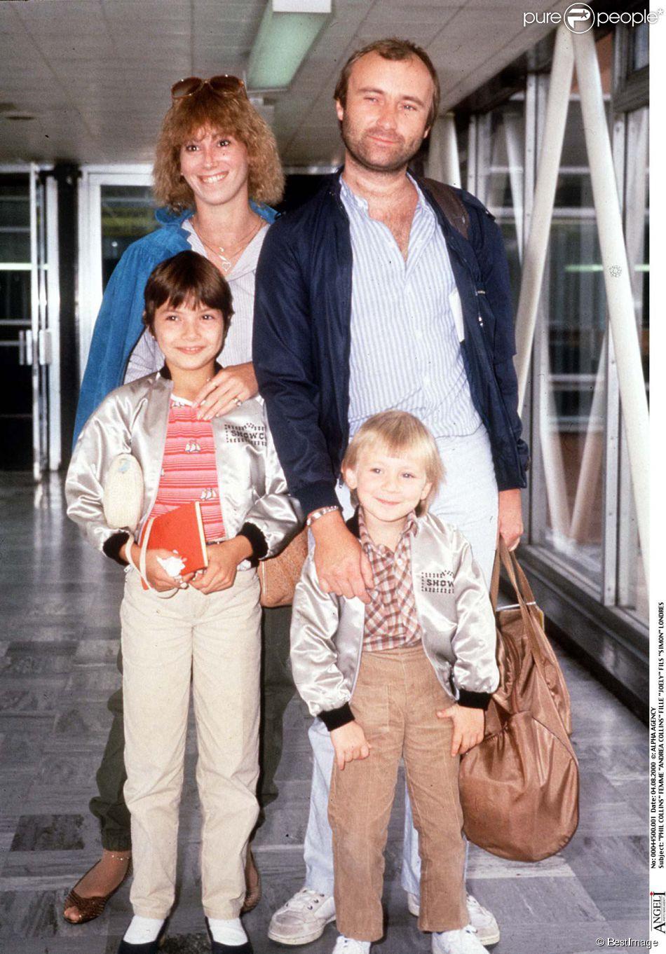 Phil Collins avec sa femme Andrea et leurs enfants Joely et Simon