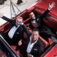 Exclusif - Dany Brillant, Antoine Duléry et Damien Sargue lors du tournage du clip Les Grands Boulevards pour Gentlemen Forever Volume 2 à Paris le 13 janvier 2015. Le chanteur incarnera Aramis dans le spectacle Les 3 Mousquetaires.