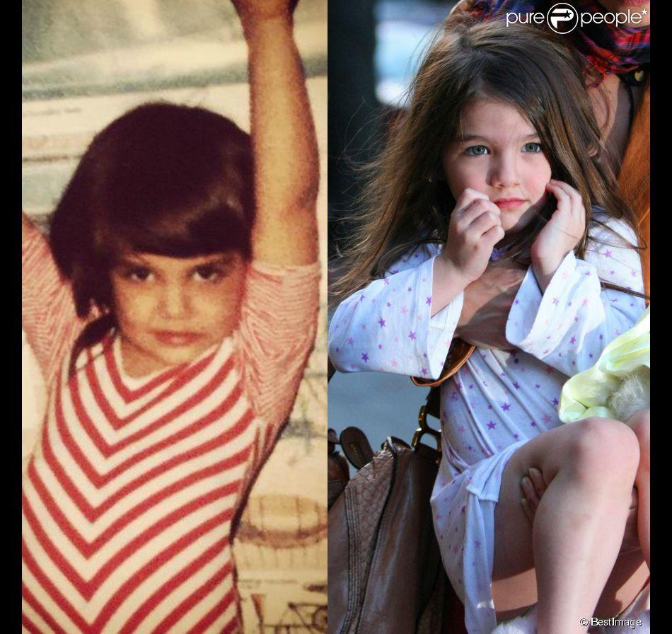 Montage : à gauche Katie Holmes à 6 ans et à droite Suri Cruise en 2010 (Best Image)