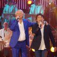 Exclusif - Patrick Sébastien et Claude Barzotti à l'enregistrement de l'émission  Les Années Bonheur  à La Plaine Saint-Denis le 24 mars 2015. Emission diffusée le 2 mai 2015.