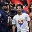 Manny Pacquiao avant son combat contre Floyd Mayweather à Las Vegas le 1er mai 2015.