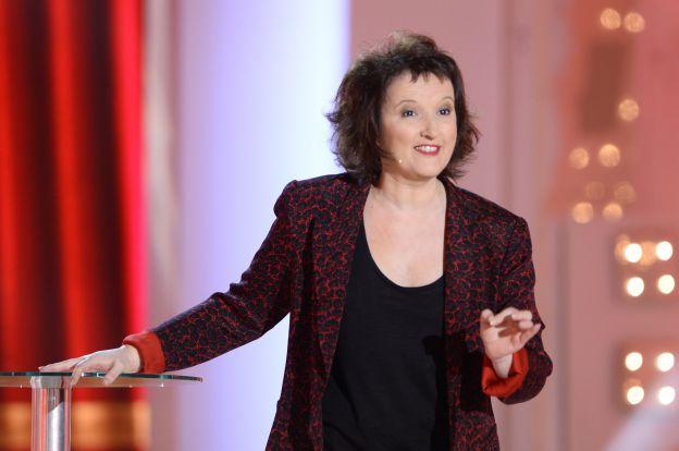 """Anne Roumanoff - Enregistrement de l'émission """"Vivement Dimanche"""" à Paris le 18 Fevrier 2015."""