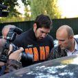 Nikola Karabatic arrêté et placé en garde à vue à la sortie du stade Pierre de Coubertin à Paris, le 30 septembre 2012