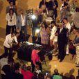 Exclusive - Eva Longoria et son ami Amauri Nolasco ont assisté au baptême du fils d'un couple d'amis avant d'aller faire la fête dans les arènes de Cordoue. Mai 2015