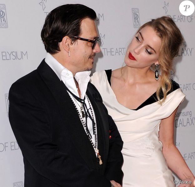 Johnny Depp et Amber Heard à Los Angeles, le 10 janvier 2015.