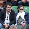 Jean-François Piège et sa femme Elodie Tavares (enceinte) - People dans les tribunes lors du tournoi de tennis de Roland-Garros à Paris, le 28 mai 2015