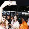 Gigi Hadid, Lewis Hamilton, Hayley Baldwin et Bella Hadid - People au grand Prix de Formule 1 de Monaco le 24 mai 2015