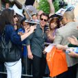 Tom Cruise fait des photos à son arrivée au Daily Show with Jon Stewart à New York le 5 juin 2014.