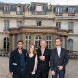 Exclusif - L'équipe du film autour de Patrice Rolet le réalisateur du documentaire, lors de la projection du documentaire  Jean-Pierre Raffarin : l'autre force tranquille  (par Cyril Viguier) à l'hôtel de Clermont, Paris le 15 juin 2015.
