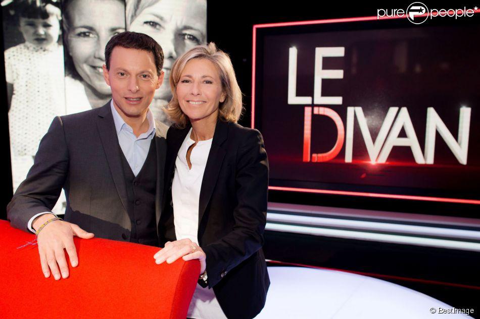 Exclusif - Enregistrement de l'émission  Le Divan  présentée par Marc-Olivier Fogiel avec Claire Chazal en invitée, le 23 mai 2015.