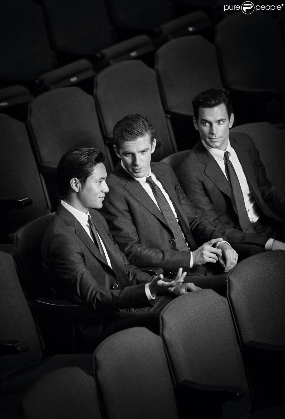 "Chen Kun, Dan Stevens et Matt Bomer sur la campagne ""Made to measure"" de Giorgio Armani. Photo par John Balsom."