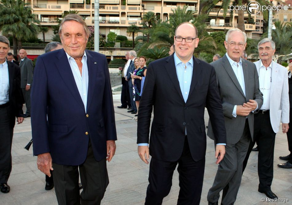 Exclusif - Michel Boeri (le président de l'ACM), le prince Albert II de Monaco, Michel Roger (ministre d'Etat de la principauté de Monaco) - Fête pour les 125 ans de l'Automobile club de Monaco (ACM) au Grimaldi Forum de Monaco, le 25 juin 2015.