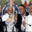 Exclusif - Le prince Albert II de Monaco, le chef Michel Rostang, Michel Boeri (le président de l'ACM), le chef Michel Chabran - Fête pour les 125 ans de l'Automobile club de Monaco (ACM) au Grimaldi Forum de Monaco, le 25 juin 2015.