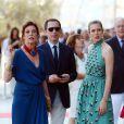 Gad Elmaleh et Charlotte Casiraghi à la soirée pour l'inauguration du nouveau Yacht Club de Monaco, sur le Port Hercule, le 20 juin 2014.