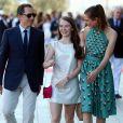 Gad Elmaleh et Charlotte Casiraghi avec la princesse Alexandra de Hanovre à la soirée pour l'inauguration du nouveau Yacht Club de Monaco, sur le Port Hercule, le 20 juin 2014.